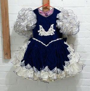 Girls Velvet Pageant Ruffle Dress